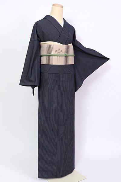 銀座【A-3211】 単衣 藍染め 紬 濃藍色 細縞(反端付)