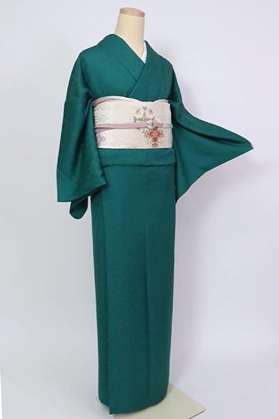 銀座【C-1975】色無地 萌葱色 花々の地紋