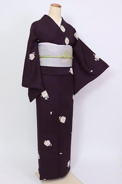 銀座【D-2637】小紋 似せ紫色 菊の図