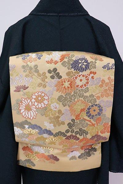 銀座【K-7080】織名古屋帯 薄香色 松に秋草の図