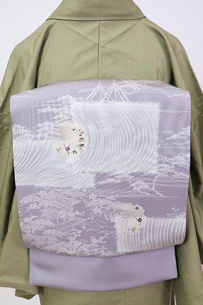 銀座【K-7081】塩瀬 染名古屋帯 薄鼠色 水辺の風景