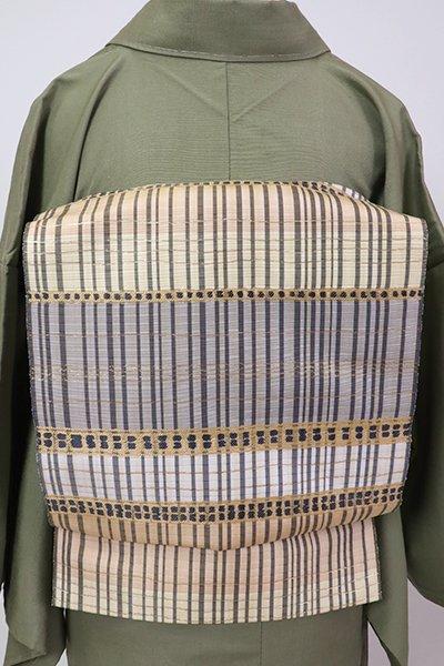 銀座【L-5303】西陣 服部織物製 袋帯 青木間道(落款入・三越扱い)