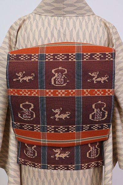 銀座【L-5304】紬地 洒落袋帯 丹色 甲比丹仙瓢
