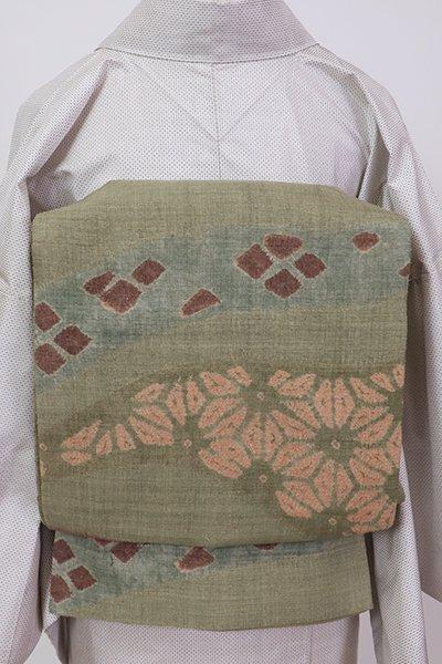 銀座【L-5305】紬地 絞り染め 洒落袋帯 柳茶色 流線に割付文