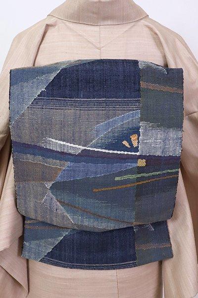 銀座【K-7083】西陣 渡文製 紬地 八寸名古屋帯 紺色 抽象文(落款入・証紙付)