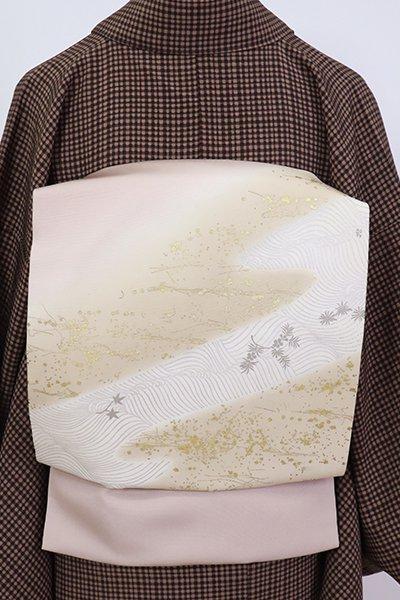 銀座【K-7091】塩瀬 染名古屋帯 灰梅色 流水に切箔散らし