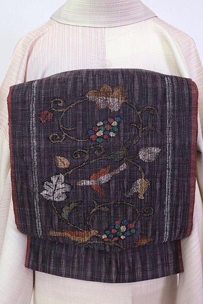 銀座【L-5306】西陣 渡文製 洒落袋帯  消炭色  葡萄唐草に鳥の図(落款入)