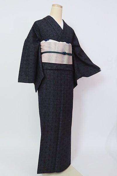【A-3224】結城紬 濃藍色 亀甲に麻の葉文