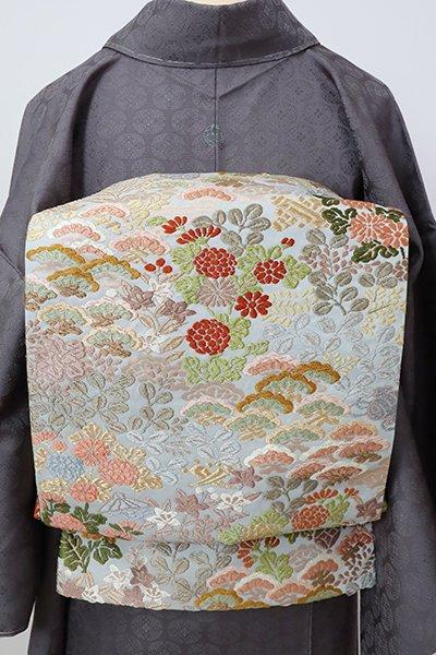 銀座【L-5307】唐織 袋帯 藍白色 秋草の図