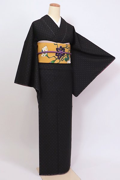 銀座【A-3229】大島紬 黒色 幾何文