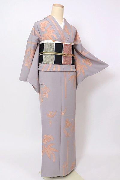 銀座【D-2648】小紋 霞色 笹竹に福良雀の図
