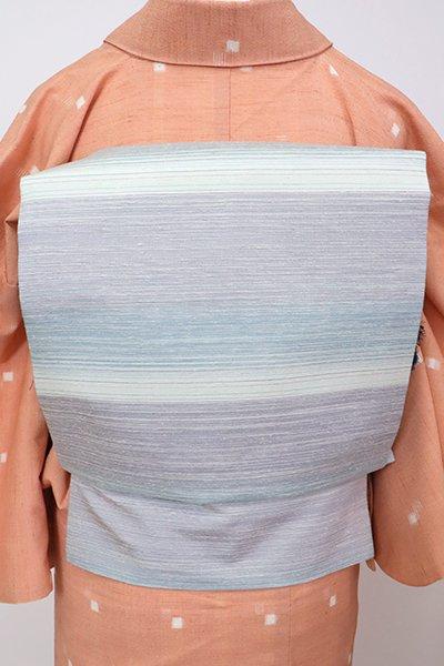 銀座【K-7098】本場縞大島紬地 織名古屋帯 月白色×白藤色 横段(証紙付)