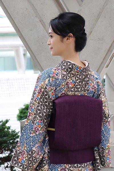 銀座【帯3587】浦野理一作 経節紬 名古屋帯 深紫色 無地