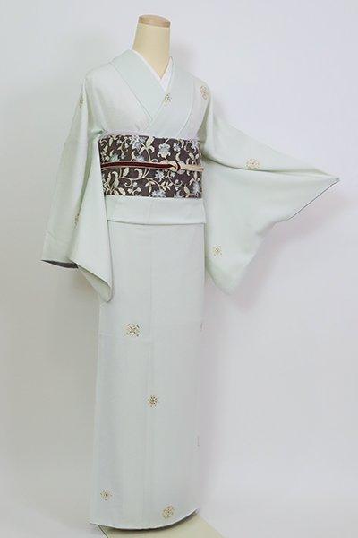 銀座【D-2650】小紋 淡い白緑色 華文(三越扱い・反端付)
