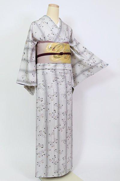 銀座【D-2652】(広め)小紋 白色 細縞に草花の図