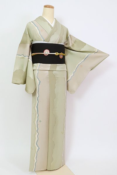 銀座【D-2653】小紋 亜麻色×裏葉柳色 抽象文