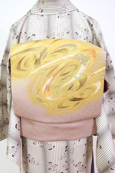 銀座【K-7108】塩瀬 染名古屋帯 玉蜀黍色 抽象文