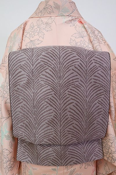 銀座【L-5312】西陣 服部織物製 洒落袋帯 鳩羽鼠色 植物文(落款入・栞付)