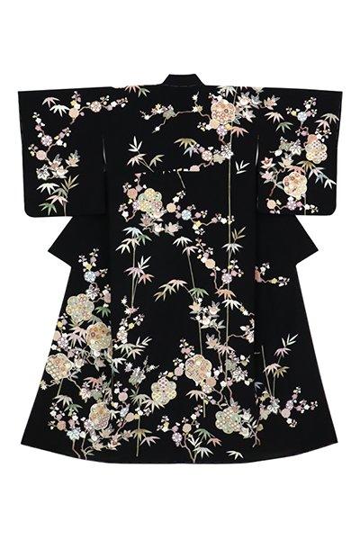 銀座【着物2957】訪問着 黒色 桐竹や梅橘に割付文