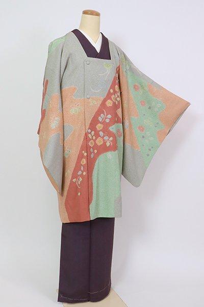 銀座【E-1301】松井青々作 絵羽 道行コート 蕎麦切色 道長取りに梅や菊など(落款入)
