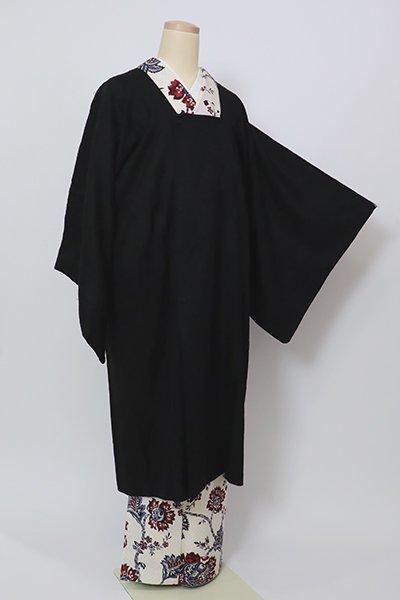 銀座【E-1302】スワトウ刺繍 道行コート 黒色 唐花文