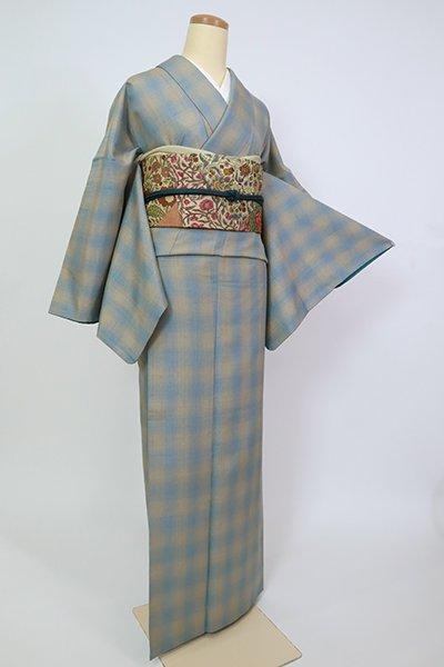 銀座【A-3241】真綿紬 薄縹色×香色 格子(反端付)