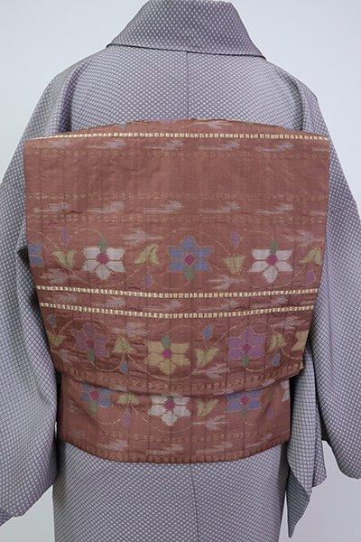 銀座【K-7119】織名古屋帯 蘇芳香色 横段に唐花の図