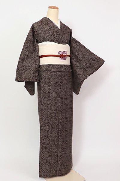 【A-3242】(広め)大島紬 黒橡色 七宝繋ぎ