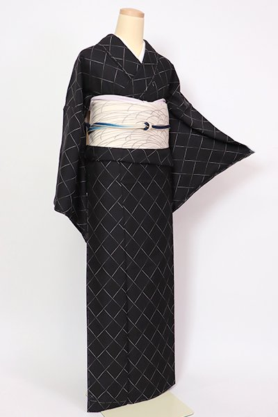 銀座【A-3244】秦流舎製 御召 黒色 斜め格子(反端付)