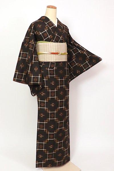 【A-3245】(細め)久米島紬  赤墨色 絣文