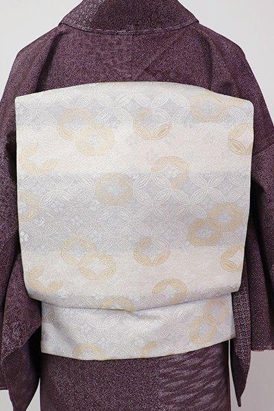 銀座【K-7123】西陣 勝山織物製 織名古屋帯 白色 横段に七宝(証紙付)