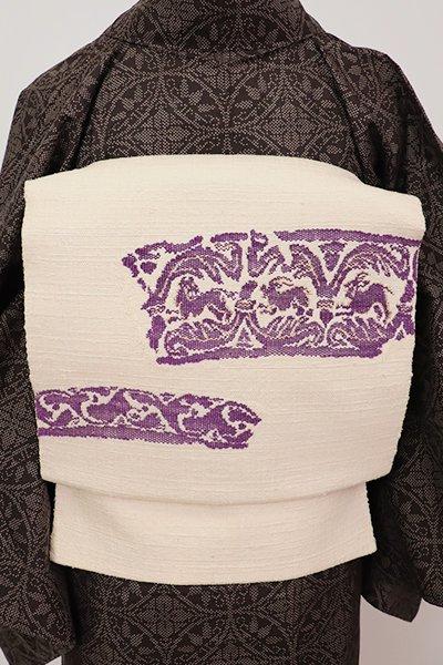 銀座【K-7125】紬地 織八寸名古屋帯 帝王紫 薄卵色 動物文