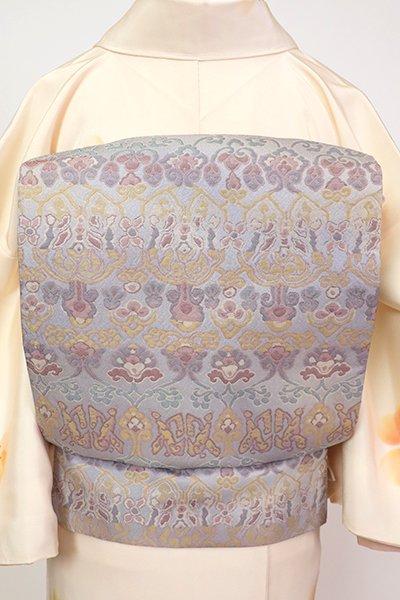 銀座【L-5323】西陣 北尾織物匠製 洒落袋帯 霞色 花唐草文(落款入・三越扱い)