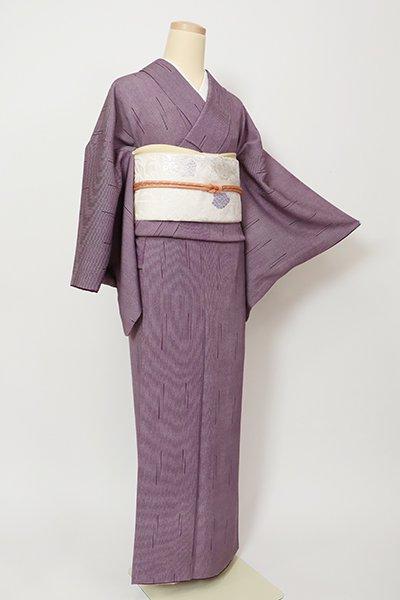 銀座【C-1986】浅野栄一作 江戸小紋 紫鳶色 竹縞(落款入)
