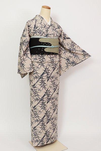 銀座【D-2662】伝統工芸士 金田昇作 小紋 絹鼠色 竹に雀の図(落款入)
