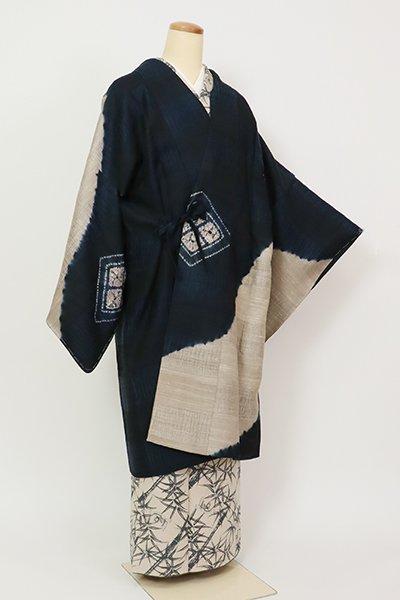 銀座【E-1308】紬地 絞り染め 道中着 濃藍色 菱文