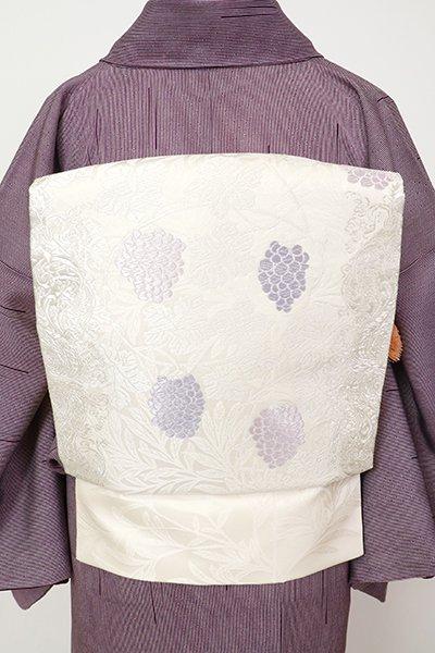 銀座【K-7129】西陣 山口美術織物製 織名古屋帯 生成り色 葡萄唐草文(落款入)