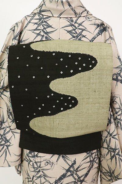 銀座【K-7130】紬地 絞り染め 名古屋帯 黒色 流線文