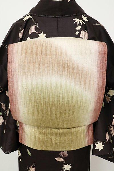 銀座【L-5327】紬地 洒落袋帯 灰梅色 暈かし