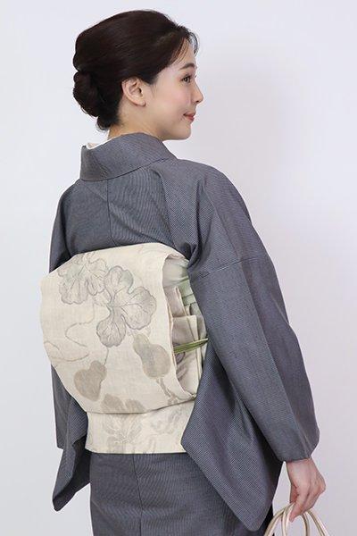 銀座【FR10-L-5314】洒落袋帯 生成り色 瓢箪の図