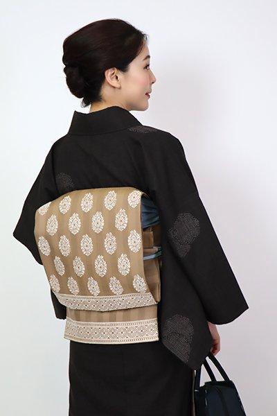 銀座【FR10-L-5319】洒落袋帯 黄枯茶色 更紗文