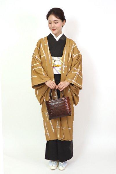 【FR10-E-1285】羽織 黄土色 破れ格子(反端付・羽織紐付)