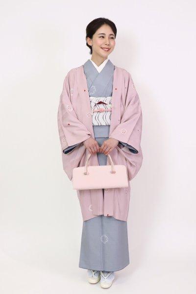 銀座【FR10-E-1289】羽織 薄桜色 丸文(羽織紐付)