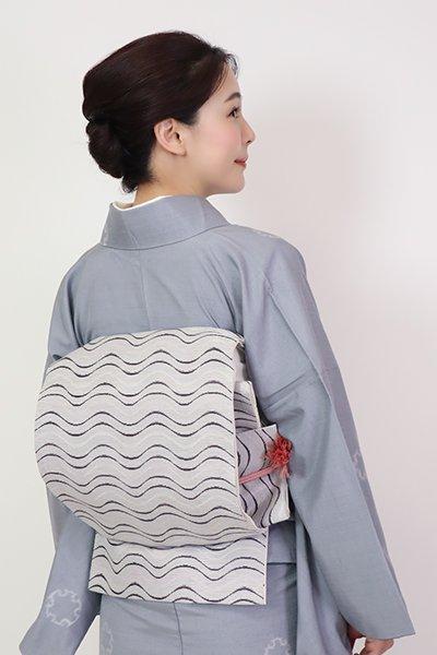 あおき【FR10-L-5321】洒落袋帯 白鼠色 波のような横段