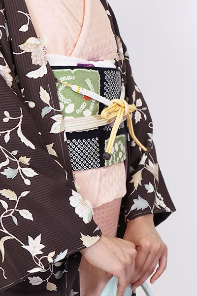 【G-1774】京都衿秀 羽織紐 冠組 蜂蜜色×白色 暈かし