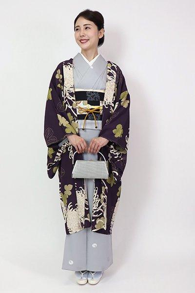 あおき【FR10-E-1291】羽織 深紫色 菊の図(羽織紐付)