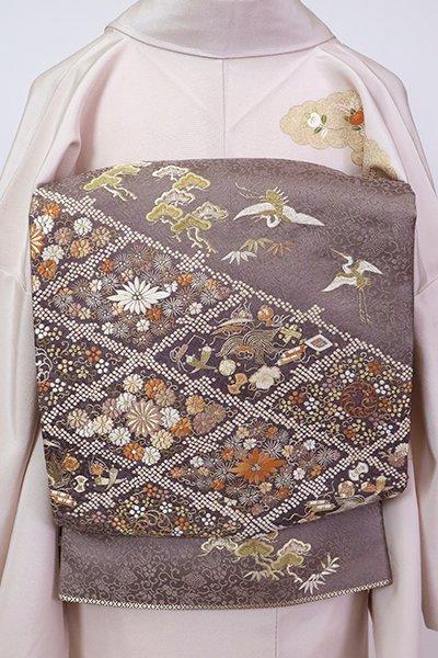 銀座【L-5329】西陣 盡政製 刺繍 袋帯 江戸鼠色 菱に花や吉祥文様など(反端付)