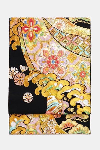 銀座【帯3612】西陣 環美術織物製 本袋帯 黒色 銘「慶長波頭文」