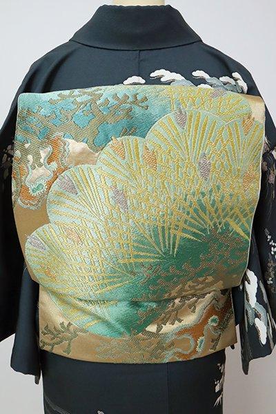銀座【L-5338】西陣 川島織物製 本袋帯 本金 金色 松の図(落款入)