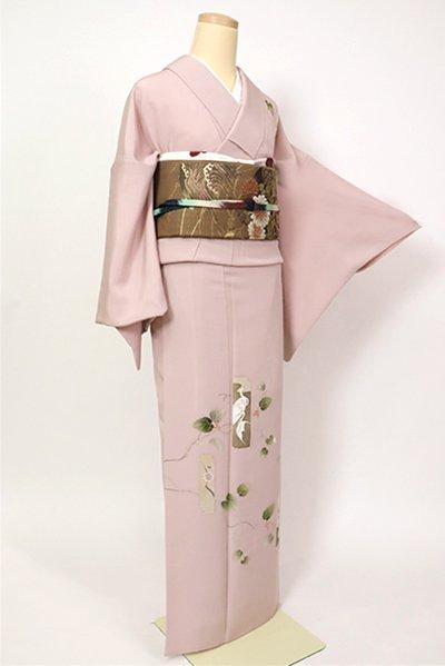 銀座【B-2747】(L)染一ッ紋 訪問着 灰桜色 短冊に蔦の図